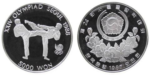 5000 вон. XXIV летние Олимпийские Игры, Сеул 1988 (Тхэквондо). Южная Корея. Серебро. 1987 год. PROOF