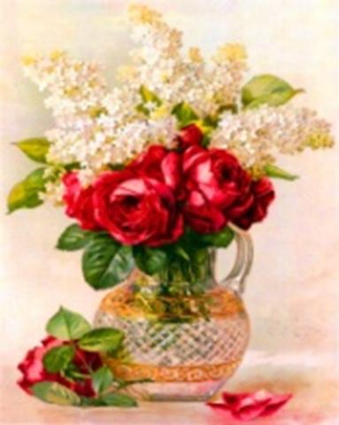 Картина раскраска по номерам 40x50 Букет красных роз и белой сирени