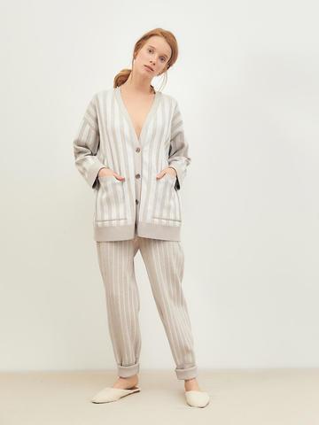 Женские брюки светло-кофейного цвета из вискозы - фото 2