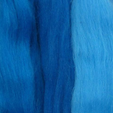 Шерсть для валяния полутонкая 1316 Голубой микс (Пехорка)