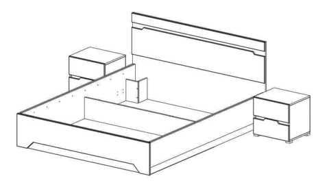 Спальня Анталия-2 Горизонт венге, белый софт