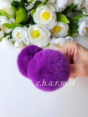 Помпон из натурального меха, Кролик, 5-6 см, цвет Фиолетовый, 2 штуки