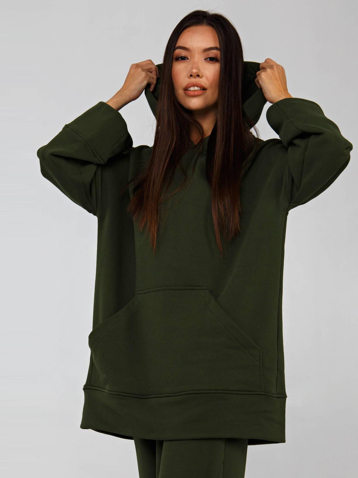 Худи трикотажное оливкового цвета YOS от украинского бренда Your Own Style