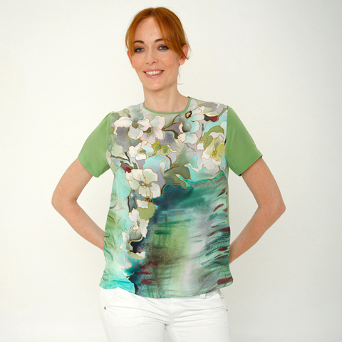 Шелковая блузка батик Цитрон