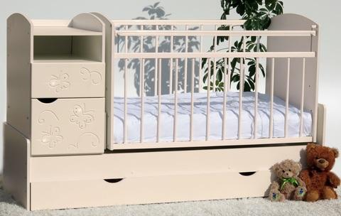 Кроватка-трансформер Элис-Бабочки маятник поперечный (слоновая кость)