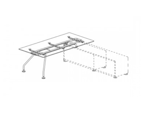 Стол руководителя со стеклянной столешницей для опорной тумбы (XEON)