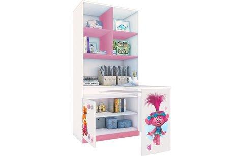 Стеллаж двухсекционный Polini kids Fun 1230 Тролли, со столом, розовый