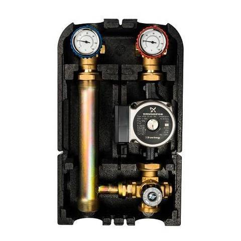 Насосная группа с термостатическим клапаном STOUT - Ду25 (в теплоизоляции, с насосом)