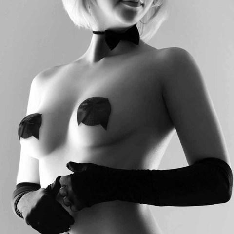 Bijoux Indiscrets Burlesque Pasties Glitter & Satin Bow Украшение на грудь бантик черное