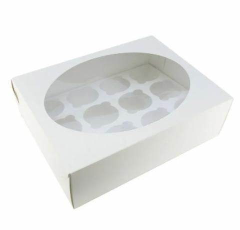 Коробка для 12 капкейков, белая, 32*23,5*10см