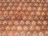 Нить бусин из кварца клубничного, шар гладкий 10мм