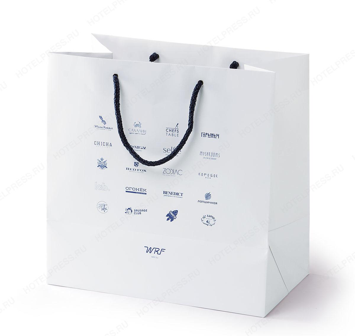 Белый пакет с тиснением фольгой с голографическим эффектом