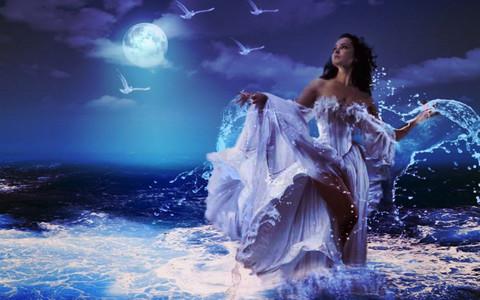 Алмазная Мозаика 20x30 Девушка в платье в воде