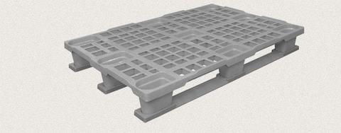 Поддон пластиковый перфорированный 1200x800x160 мм с полозьями, усиленный металлическим профилем. Цвет: Серый