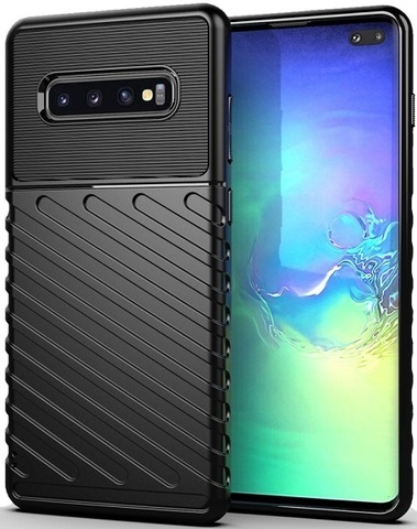 Чехол Carbon для Samsung Galaxy S10+ серия Оникс | черный