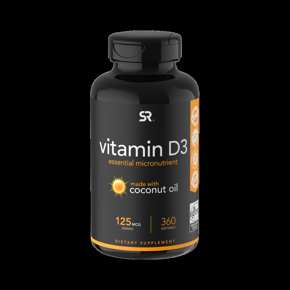 Витамин D3 5000 МЕ, Vitamin D3 5000 МЕ (с Органическим Кокосовым Маслом), Sports Research (360 капсул)