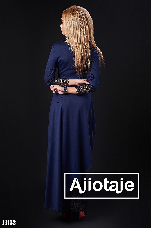 Трикотажное платье с асимметрией темно-синего цвета
