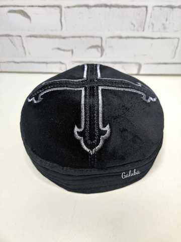 Тафья чёрный бархат , крест №2 . тёмное серебро .