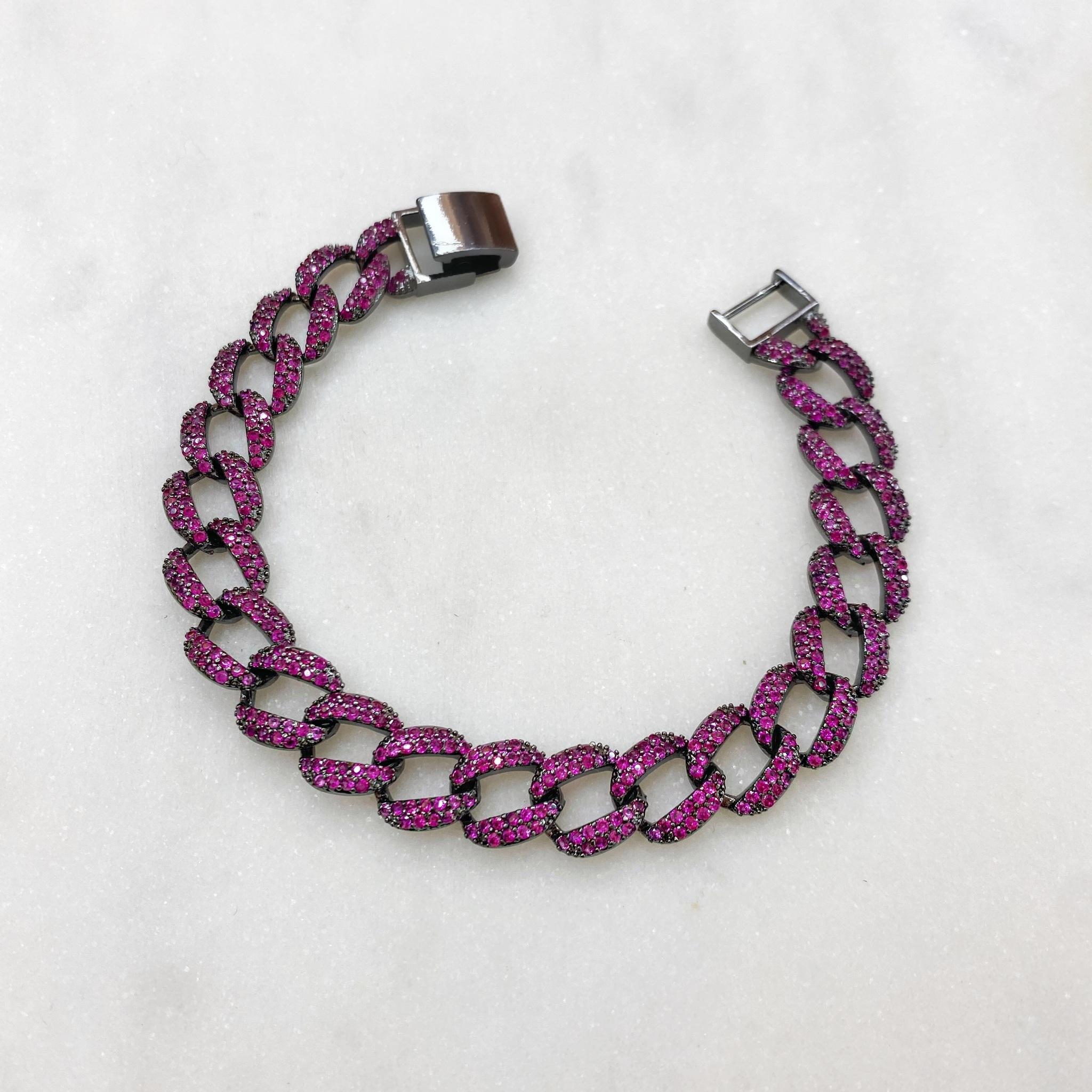 Браслет-цепь с цирконами (рубиновый/черный)