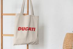 Сумка-шоппер с принтом Ducati (Дукати) бежевая 002