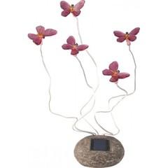 Светильник на солнечной батарее «Бабочки», цвет розовый (Feron)