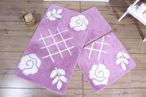Комплект ковриков для ванной и туалета PASTEL, лиловый