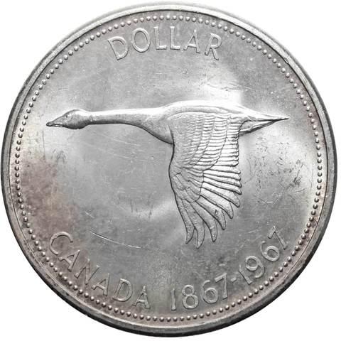 1 доллар. 100 лет Конфедерации Канады. Серебро. 1967 г. AU