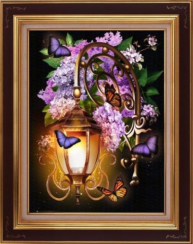 Алмазная Мозаика 5D 40x50 Бабочки у фонаря (арт. 3DZX115 )