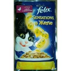 Влажный корм для кошек Felix Sensations утка шпинат 85г