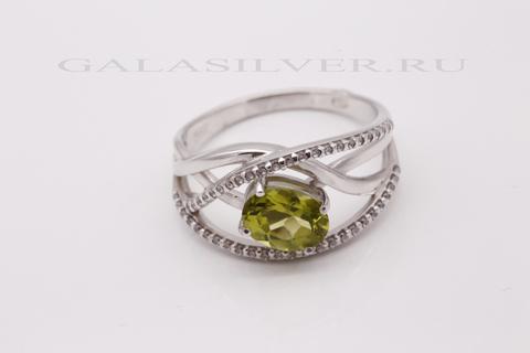 Кольцо с хризолитом и фианитами из серебра 925