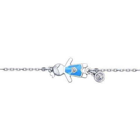 94050377- Мамин браслет из серебра с эмалью с фигуркой