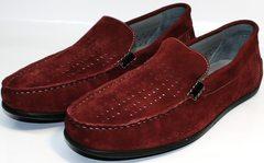 Кожаные мужские мокасины IKOC 1555-3 Red.