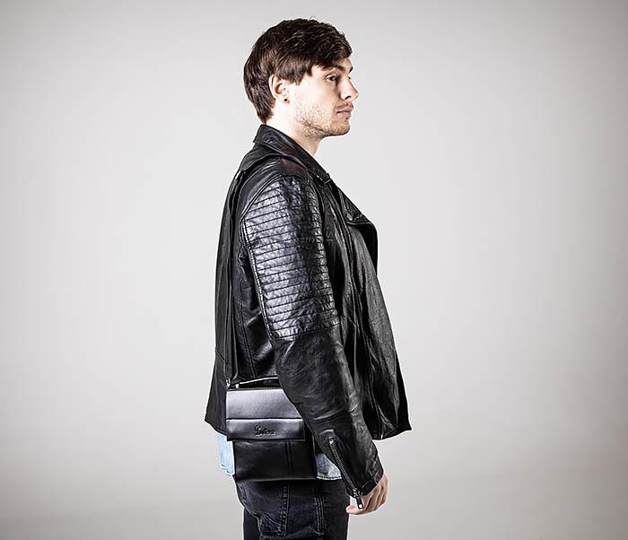 BAG560-1-3 Мужская кожаная сумочка с ручкой и ремнем фото 02