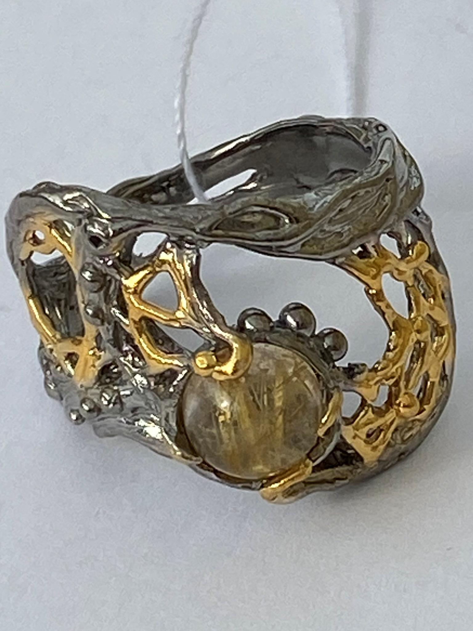 Рапсодия-волосатик (серебряное кольцо с позолотой)