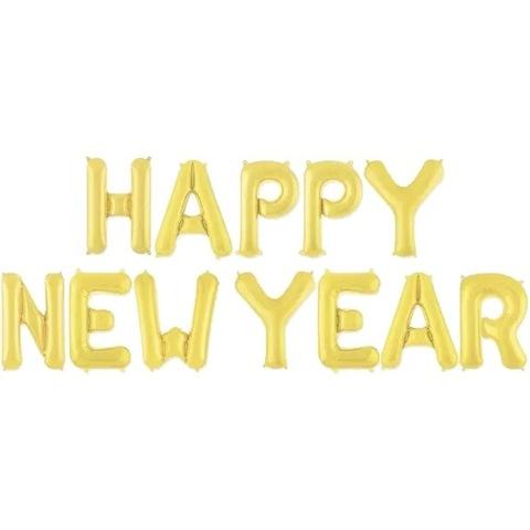 Растяжка из шаров: Буквы из фольги - С новым годом!, Happy NewYear, золото