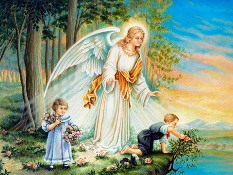Алмазная Мозаика 40x50 Ангел оберегает играющихся детей (арт. MGL3338 )