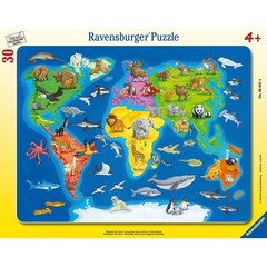 Puzzle World Map with Animals 30 pcs