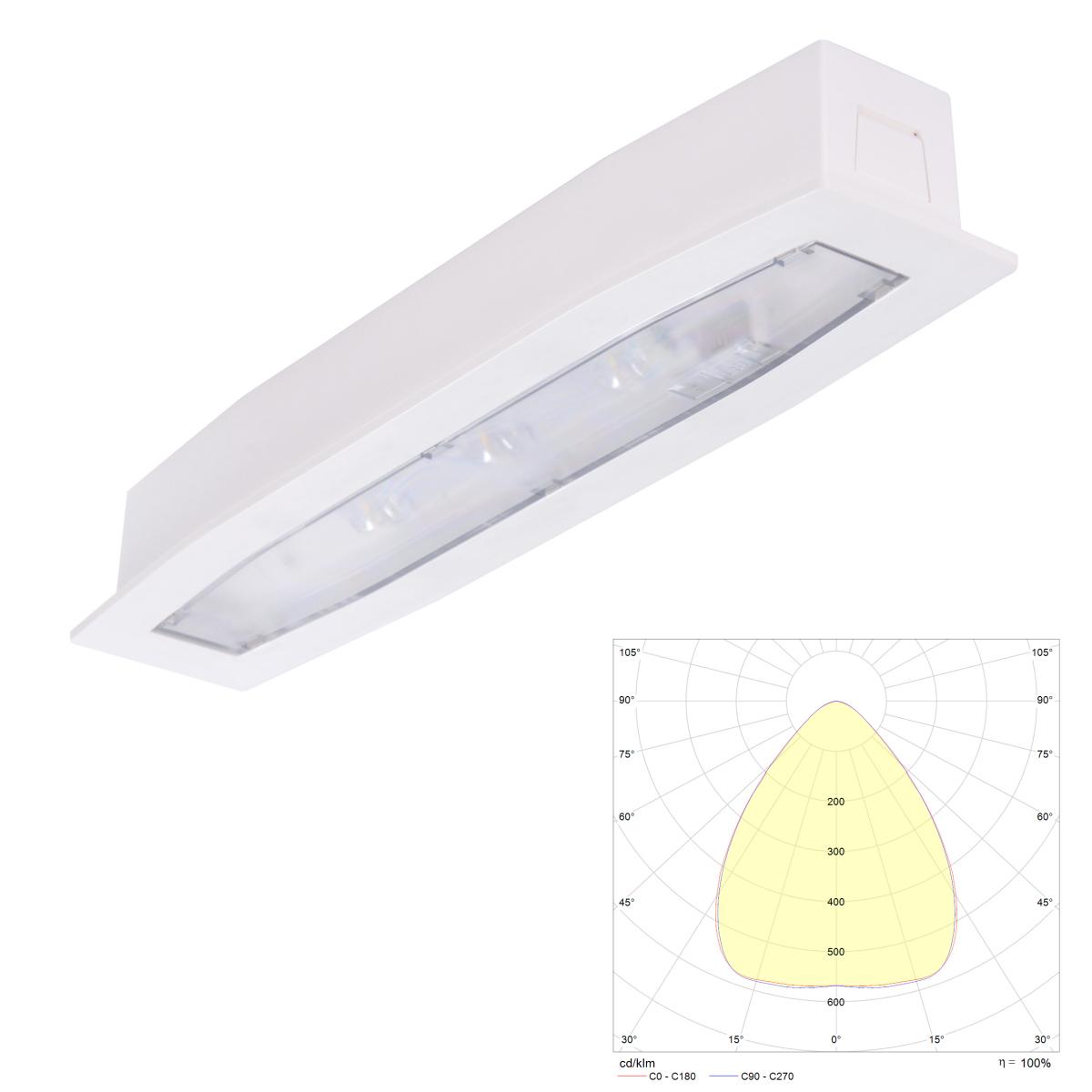 Встраиваемый светильник аварийного освещения Suprema LED SOH PT IP54 Intelight – внешний вид