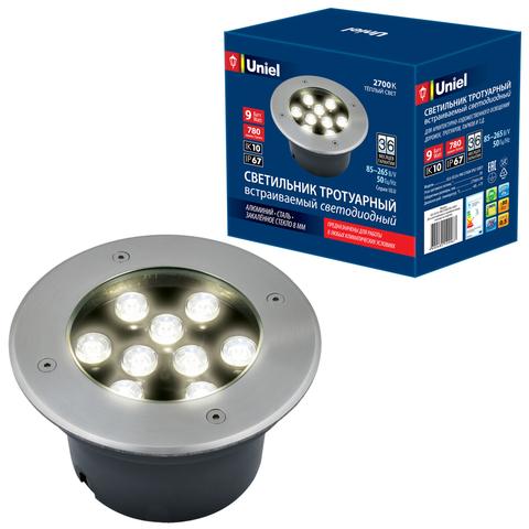 ULU-B12A-9W/2700K IP67 GREY Светильник светодиодный уличный. Архитектурный встраиваемый. Теплый белый свет (2700К). Корпус серый. TM Uniel.