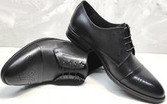 Мужские стильные туфли классические Ikoc 2249-1 Black Leather.