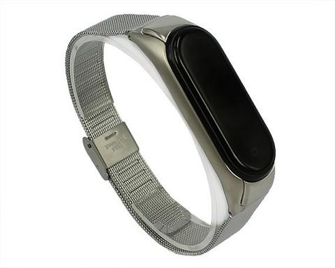 Ремешок для Xiaomi Mi Band 3/4 | стальной серебро
