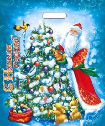Пакет новогодний с вырубной ручкой 40х47+6 (45) И НГ (Мороз Иванович) 50 шт