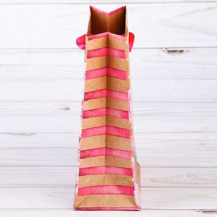 Пакет вертикальный крафт «Самого прекрасного», ML 23 х 27 х 8 см