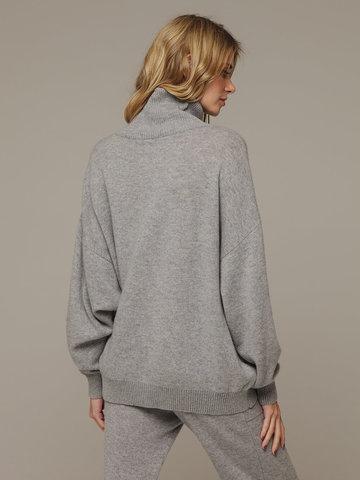 Женский серый джемпер на замке с высоким горлом из 100% кашемира - фото 2