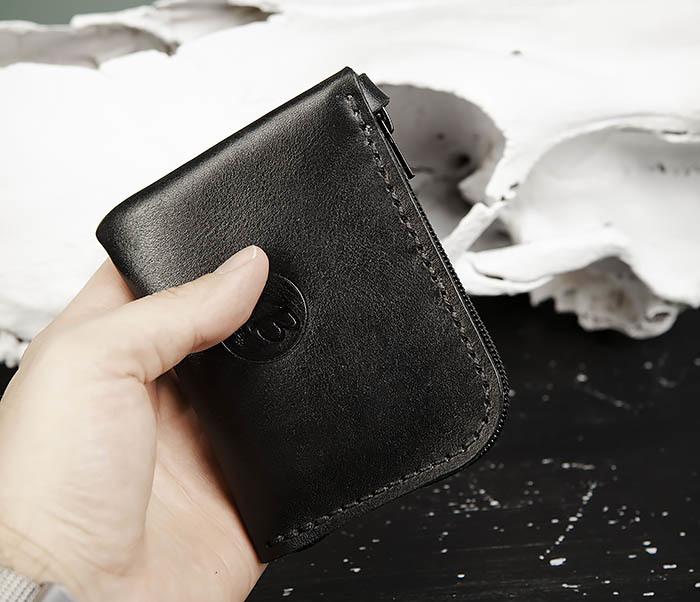 WB183-1 Удобный мини кошелек на молнии ручной работы фото 11
