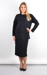 Венето. Жіночий стильний костюм з люрексом плюс сайз. Чорний.