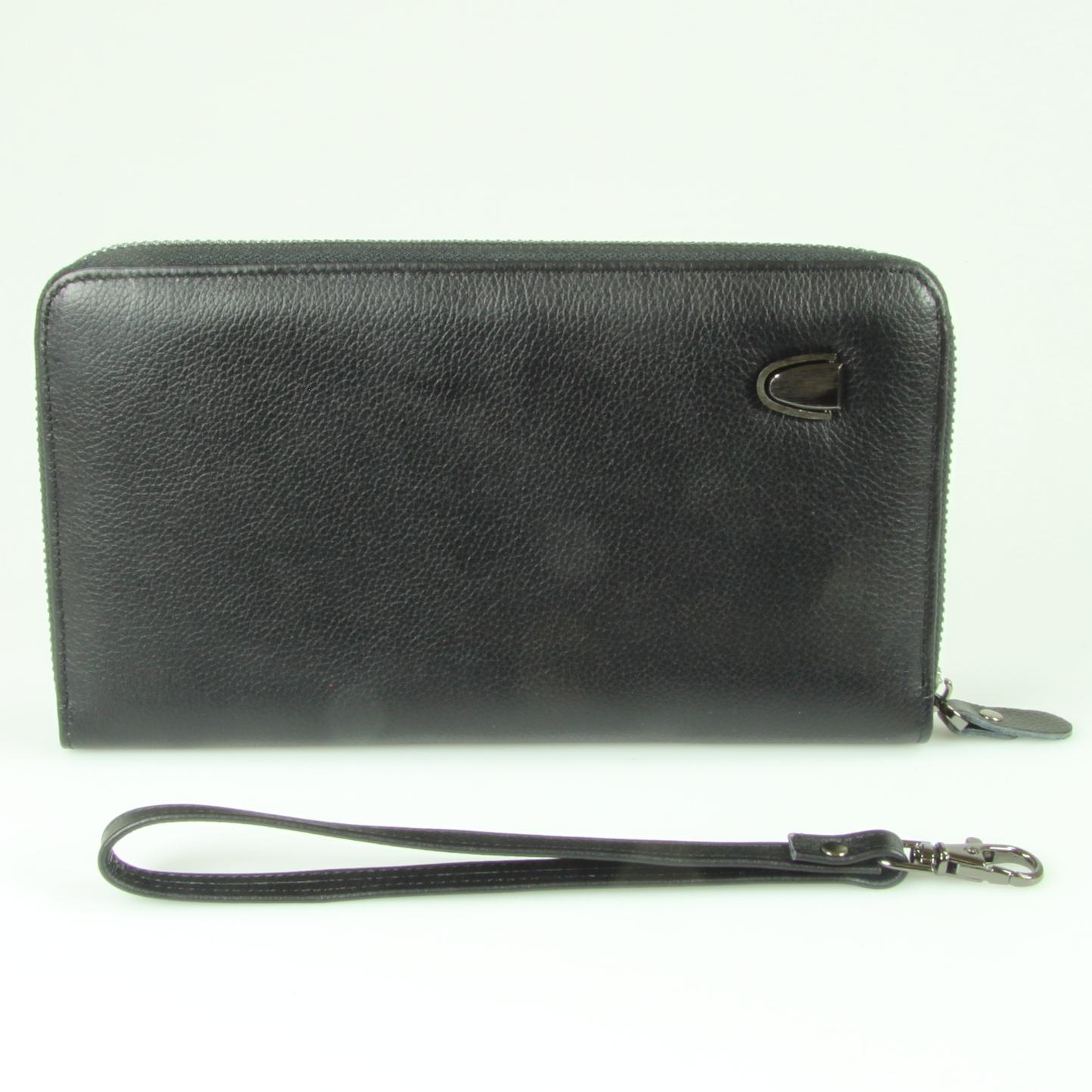 Клатч мужской кожаный чёрный на молнии с ремешком DoubleCity 078-DC31-37A
