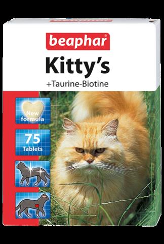 Beaphar Кормовая добавка Kitty's + Taurine-Biotine с биотином и таурином для кошек 75 таб.