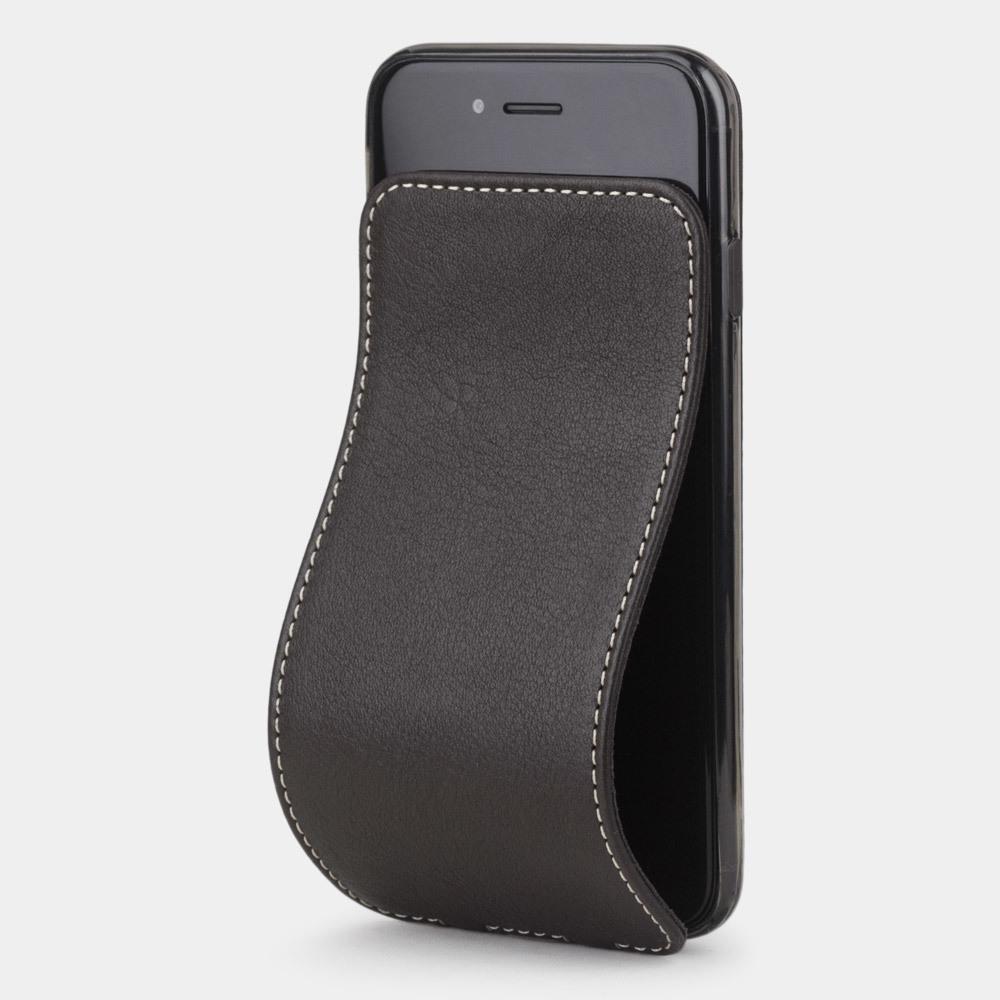 Чехол для iPhone 8 Plus из натуральной кожи теленка, темно-коричневого цвета