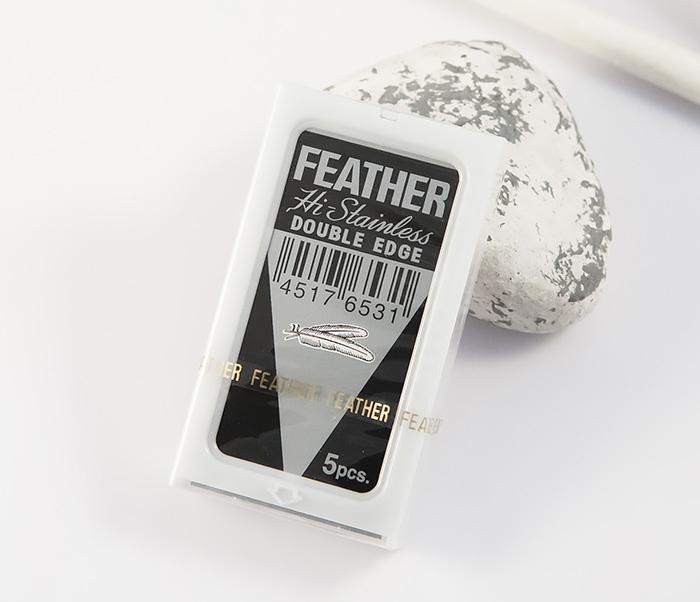 RAZ184 Японские классические лезвия для бритья «FEATHER» с платиновым покрытием (5 шт)